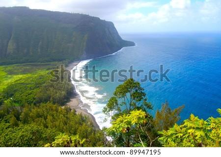 Waipio Valley Scenic View Big Island Hawaii - stock photo