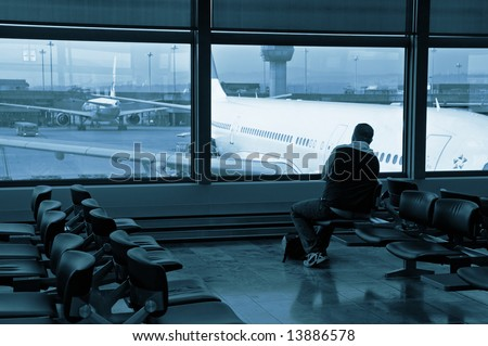 Wait for boarding at the waiting room - stock photo