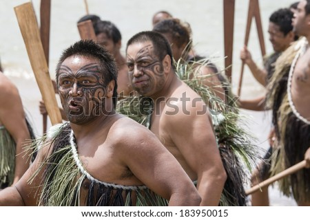 WAITANGI,NEW ZEALAND-FEB 6:Maori warriors at a Haka on Waitangi day in Waitangi on Feb 6, 2009. Waitangi day is a public holiday,yearly on Feb 6 to celebrate the signing of the Treaty of Waitangi  - stock photo