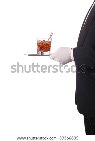 Waiter Carrying a tray with a glass of Soda. Vertical Composition, torso only isolated on white - stock photo