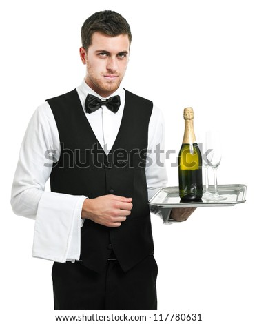 Waiter holding a plate with a bottle of champagne isolated on white - stock photo
