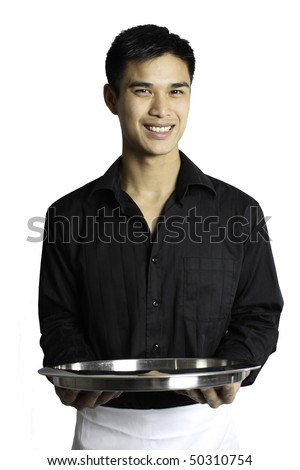 Waiter holding a serving tray out in front of his belly