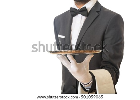 Waiter holding an empty tray
