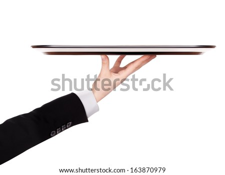 waiter holding empty silver tray isolated on a white background - stock photo