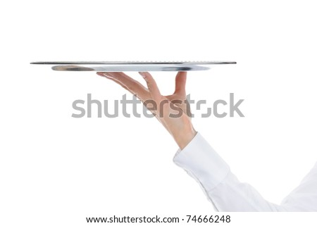 Waiter holding empty silver tray. Isolated on white background - stock photo