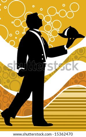 Waiter holding tray with catering - stock photo