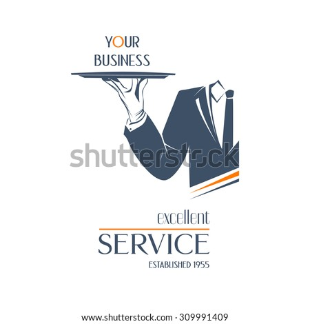 Waiter holds a tray over white background. Simple illustration logo, isolated. Excellent service sign. Classic banner or label for restaurants, cafe and any business.  - stock photo