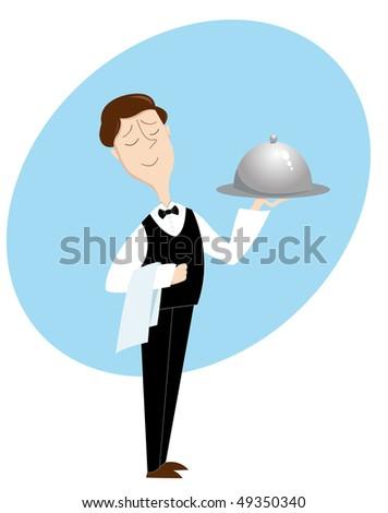 Waiter. Illustration. Isolated on white - stock photo