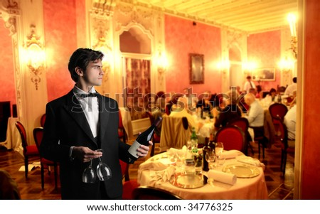 waiter in a luxury hotel - stock photo