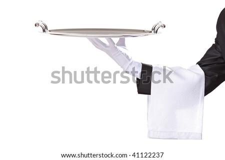 Waiter isolated on white - stock photo