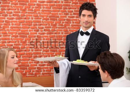 waiter on service - stock photo
