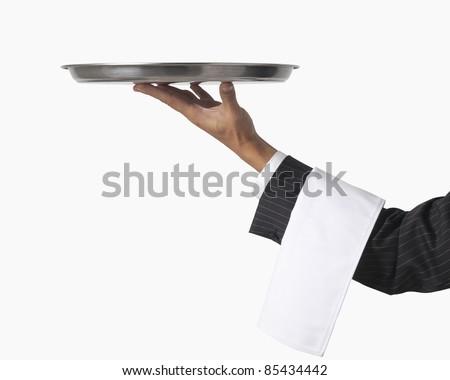 waiter or server isolated on white - stock photo