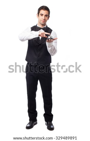 waiter pressing a ring bell - stock photo