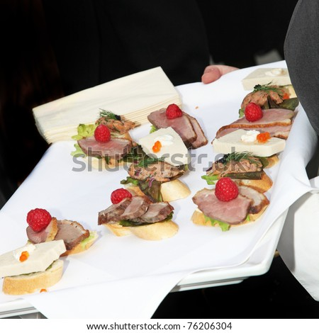 Waiter serving finger food, tapas and snacks on a tray - square - stock photo