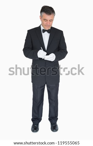 Waiter taking order in his notepad on white background