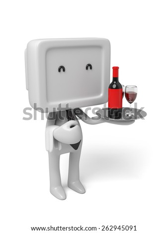 Waiter with a tray with a glass of wine. 3d image. Isolated white background - stock photo