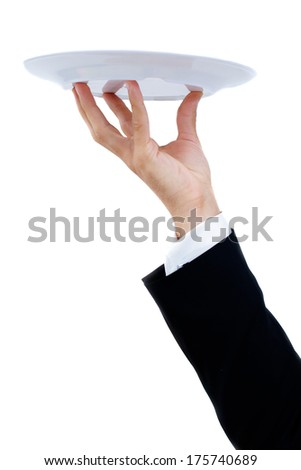 Waiter with a white plate. Isolated on a white background.