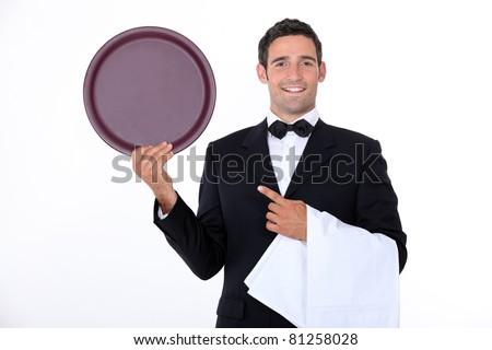 Waiter with his tray - stock photo