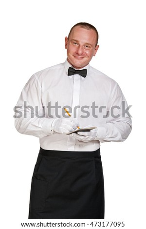 Waiter with note pad and pencil over white background.