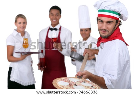 waiters and cooks - stock photo