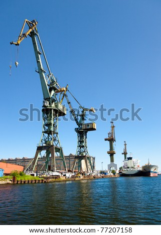 Waiting for a ship in port Gdansk, Poland. - stock photo