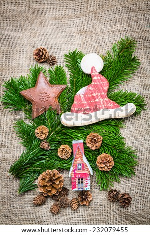 waiting for christmas - christmas background with little christmas items  - stock photo