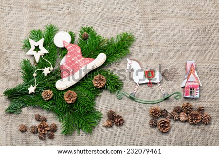 waiting for christmas - christmas background with little christmas items retro style - stock photo