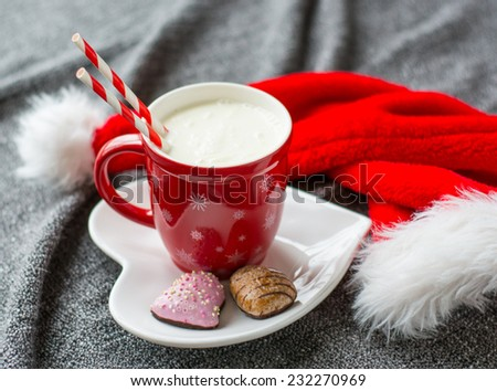 Waiting for Santa with milk and cookies - stock photo