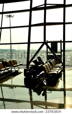 Waiting for take-off - stock photo