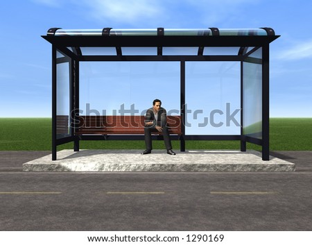 Waiting for the bus - stock photo