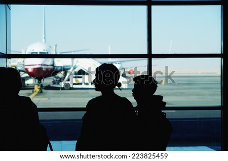 Waiting for the flight at airport - stock photo