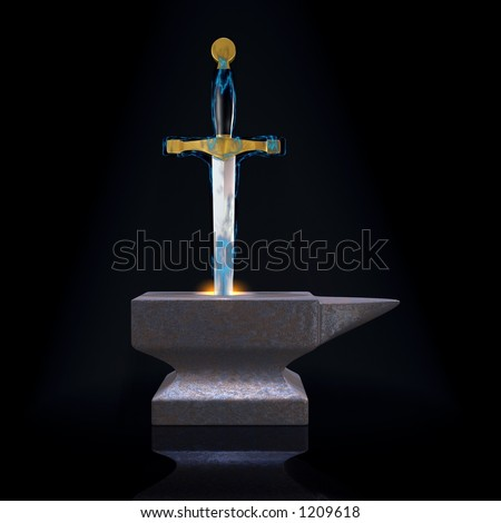 Waiting for the master (metaphor with Excalibur and the anvil) - stock photo