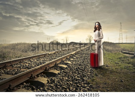Waiting for the train to come  - stock photo