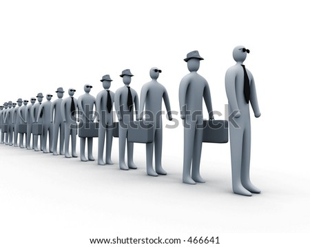 Waiting in line #1 - stock photo