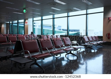 waiting lounge in an airport - stock photo