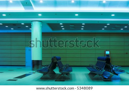 waiting lounge in an airport, Domodedovo, Moscow, Russia - stock photo
