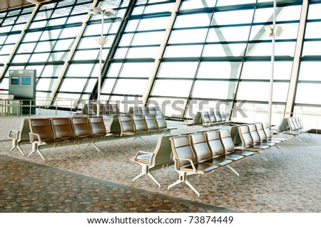 Waiting lounge in an Korea airport - stock photo