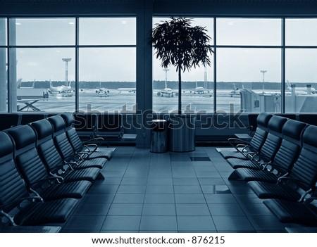 waiting room airport - stock photo