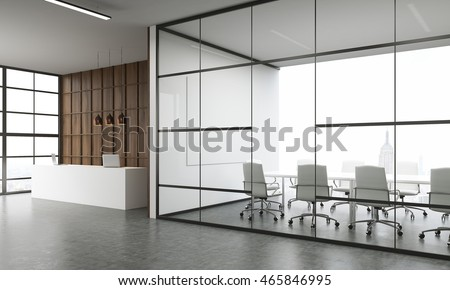 Waiting room and reception with wooden wall in New York office. White furniture. Modern design. 3d rendering. Mock up.