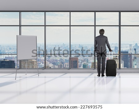 Waiting room at the airport. Businessman waiting for heir flight.