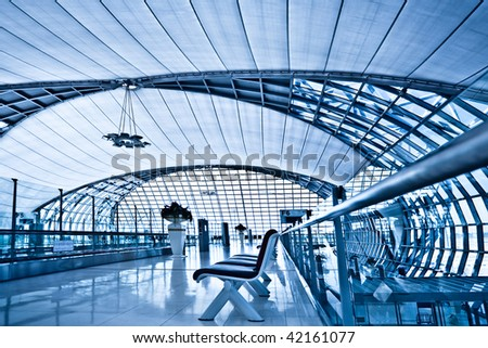 Waiting room interior with chairs, place in airport - stock photo