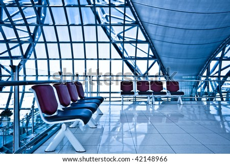 Waiting room with eight chairs, place in airport - stock photo