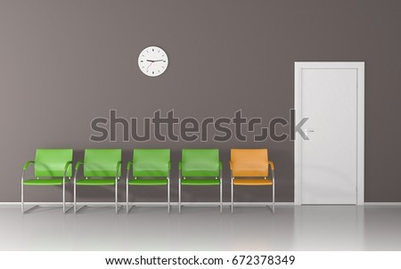 Waiting Room With Four Green Chairs, One Yellow Chair, Wall Clock And White  Door