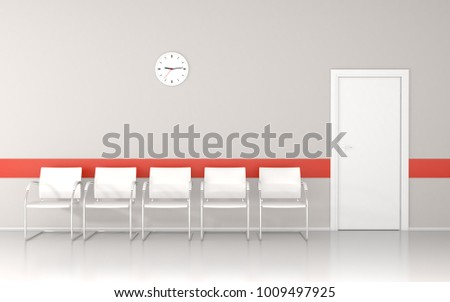 Waiting room with wall clock and red line on wall 3D render