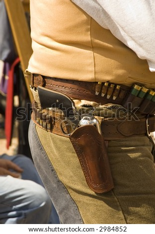 waiting to participate in the cowboy action shooting competition in Arizona - stock photo