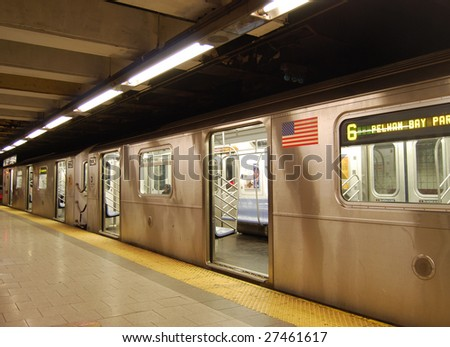 Waiting train with open doors in the New York subway