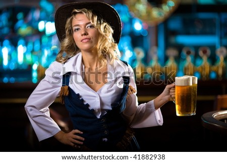 waitress blonde cost(stand)s keeps beer