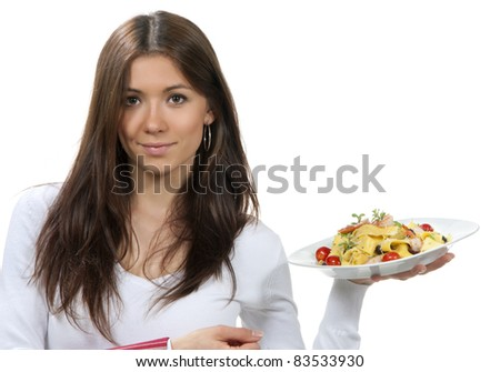 Waitress, chef holding plate with italian lemon pappardelle, tagliatelle, macaroni, spaghetti pasta with tomato, shrimps and olives on serviette, table napkin in other on a white background - stock photo