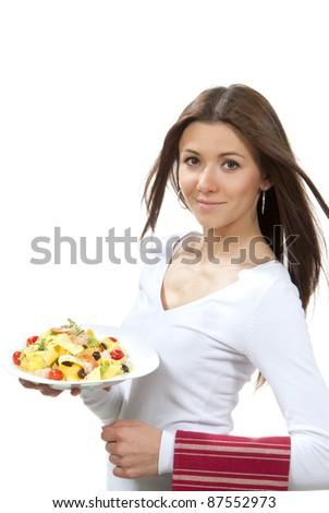 Waitress, chef holding plate with italian pasta lemon pappardelle, tagliatelle, macaroni, spaghetti with tomato, shrimps and olives on serviette and smiling on a white background