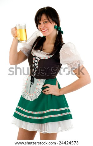 Waitress Holding A Beer For St Patricks Day Or Oktoberfest - stock photo